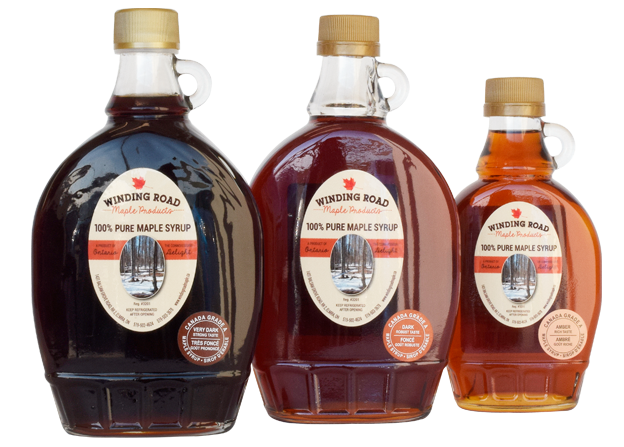 Bottles of Winding Road Maple Syrup